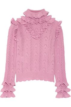 The ruffled sweater to end all ruffled sweaters.Gucci Ruffled Pointelle-Knit Wool-Blend Sweater, $1,490, available at Net-A-Porter. #refinery29 http://www.refinery29.com/ruffle-clothing-accessoires-fall-trend#slide-12