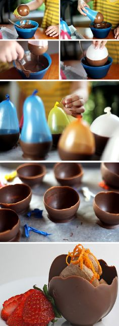 Edible chocolate ice cream cups
