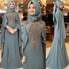 This makes a nice mother of groom outfit Long Dress Fashion, Abaya Fashion, Modest Fashion, Fashion Dresses, Fashion Fashion, Fashion Women, Abaya Mode, Mode Hijab, Muslim Wedding Dresses
