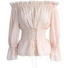 Chicwish Retro Temptation Off-shoulder Top in Pink ($42) ❤ liked on Polyvore featuring tops, pink, vintage tops, off shoulder tops, vintage corset tops, retro corset and pink corset top