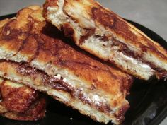 Grilled Smores Sandwich (recipe) We might add super thin banana slices.