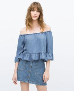 ELASTIC OFF-THE-SHOULDER TOP-Woman-NEW THIS WEEK | ZARA United States