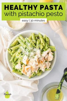 This easy pistachio pasta recipe is a great throw-together pantry meal. Pesto is a great sauce to have on hand. It's easy, tasty, and versatile. Making your own pesto is a great way to use up greens that are about to go bad, and is easy to make extra to freeze for later. If you're in need of a quick dinner, grab some healthy pistachio pesto from your freezer and throw this healthy pistachio pasta together in just 15 minutes. Healthy Pastas, Good Healthy Recipes, Vegetarian Recipes, Healthy Food, Pasta Dinner Recipes, Easy Pasta Recipes, Supper Recipes, Make Ahead Meals, Quick Meals
