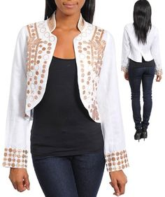 G2 Fashion Square Long Sleeves Open Front Sequins Jacket $21.96