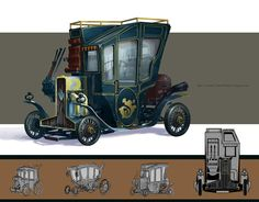 Motorized carriage  Steampunk concept art