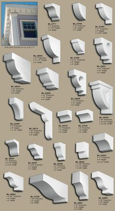 Polyurethane Corbels, pg 9 - Polyurethane Corbels can be installed horizontally or vertically. or order a small Sample Corbels may be hollowed out on top or House Front Wall Design, Single Floor House Design, House Window Design, House Outside Design, Tv Wall Design, Bungalow House Design, Small House Design, Door Design, Cornice Design