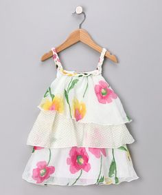 Take a look at this White Floral Ruffle Dress - Toddler & Girls by Little Mass on #zulily today!