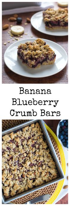 Skinny Banana Blueberry Bars. So moist and good enough to eat for breakfast or with ice cream!