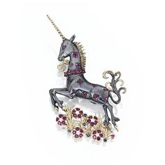 Silver, gold, ruby, sapphire and diamond brooch, Van Cleef