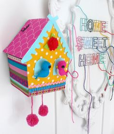 I am thinking of painting my unfinished bird house similar to this and it will look cute with the colorful bird bath!