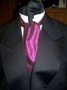 """SALE Ascot or Carvat Black and Fuchisa lemay fabric 4"""" x 54"""" Mens Historial Bow Tie or Wedding, cravat tie by AdoriesDesigns, $14.95 USD"""