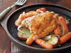 Chicken with Carrots and Potatoes | All you need is twenty minutes to get this dish in the slow cooker. You'll have a hearty chicken and veggie supper waiting for you when you get home. If you don't care to use the wine, you can use 1/2 cup of additional chicken broth.