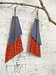 Fringe Brown Leather Earrings, Geometric Earrings, Long Leather Earrings, Chain Earrings, Blue Brown Earrings, Boho Gypsy Earrings, Leather