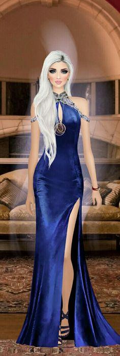 Girl Fashion, Fashion Looks, Womens Fashion, Fashion Design, Blue Dresses, Prom Dresses, Fashion Sketches, Fashion Illustrations, Covet Fashion Games