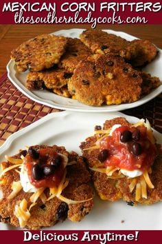Mexican corn fritters are easy and delicious. Wonderful appetizers for any gathering or party or serve to family for a treat anytime. Corn Patties, Kitchen Recipes, Cooking Recipes, Lentil Patty, Mexican Corn, Side Dish Recipes, Side Dishes, Corn Fritters, Breakfast Quiche