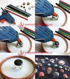 MATERIALES:      -Barras de silicona negras y  de colores       -Pistola termofusible para silicona      -Bases de anillos, pendientes, colgantes, etc      Todos los materiales para este proyecto los puedes adquirir en nuestra tienda ...