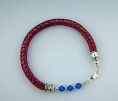 Viking Knit Handwoven Bracelet in Red Wire with blue Swarovski Crystals by All My Beads DESTASH