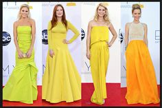 From left, Julie Bowen in Monique Lhuillier; and Julianne Moore in Dior; Claire Danes is in Lanvin; and Leslie Mann in Naeem Khan.  Credit: From left: Kevork Djansezian/Getty Images (2); Matt Sayles/Invision, via Associated Press; Jordan Strauss/Invision, via Associated Press via NYTimes.com #Emmys