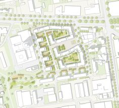 1. Preis Nach Überarbeitung: Lageplan M 1 : 1000, © ASTOC Architects and Planners Landscape Architecture Design, Architecture Plan, Landscape Plane, Planer Layout, Urban Analysis, Project Presentation, Plan Drawing, Site Plans, Masterplan