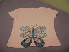 Camiseta com borboleta - técnica patch aplique