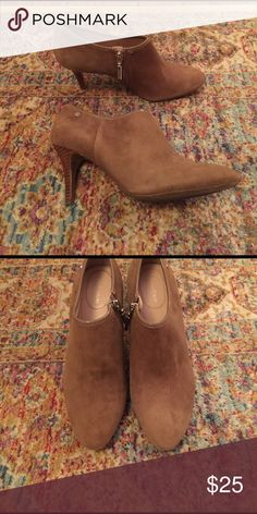 Suede camel colored heels 2-inch Calvin Klein size 7 heels. Suede with side silver zippers. Calvin Klein Shoes Heels