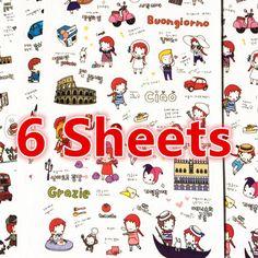 6 Sheets, Cute Sticker, Deco Sticker, Korean Sticker, Scrapbook, Travel Girl Sticker by PokemonGarden on Etsy https://www.etsy.com/transaction/1164760987