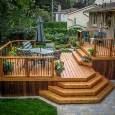 54 Beautiful Top Multilevel Decks Design For Your Backyard. A deck may be an attractive transition between the indoor and outdoor spaces, especially if you are in possession of a screened-in porch. Wood Deck Designs, Pergola Designs, Patio Design, Deck Design Plans, Wood Deck Plans, Diy Deck, Patio Decks, Deck Gazebo, Hot Tub Pergola
