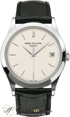 New Authentic Patek Philippe Calatrava Men's Watch Model Number features Automatic Movement. Made from White Gold This Watch has a White dial and fitted with a Alligator bracelet. New Authentic Patek Phil Elegant Watches, Beautiful Watches, Stylish Watches, Casual Watches, Amazing Watches, Sport Watches, Cool Watches, Collection Louis Vuitton, Patek Philippe Aquanaut