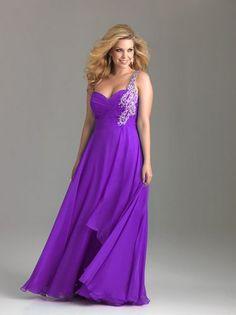 Purple Beaded Chiffon One Shoulder Sweetheart Empire Waist Prom Dress
