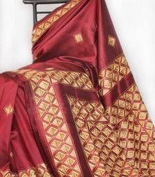 Buy Maroon Hand Work - Aari - Geometric Design silk saree hand-woven-saree online