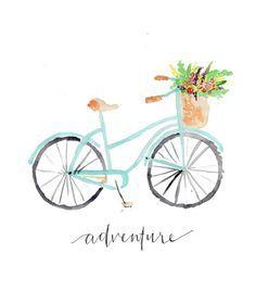 Vintage Bicycle Adventure Floral Bike Watercolor by TJHJoyDesigns
