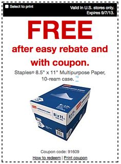 Free Case of Paper after Staples Coupon and Rebate! - http://www.livingrichwithcoupons.com/2013/09/free-case-of-paper-after-staples-coupon-and-rebate.html