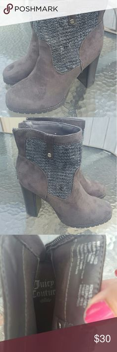 Juicy couture boots Juicy couture boots , new without tags, 7.5 , grey suede,  very cute !! Juicy Couture Shoes