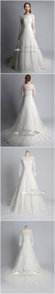 Vintage Bateau Neck Long Sleeves Lace Wedding Dress - See more at: http://www.tulleandchantilly.com/vintage-bateau-neck-long-sleeves-lace-wedding-gown-p-622.html