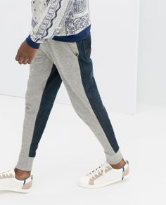 Image 7 of COMBINED DENIM VELOUR TROUSERS from Zara