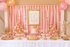 Pink and Gold Princess Party Details | Pizzazzerie.com Love the Dollar Store candlesticks glittered and glued to glass plates to make cake stands.