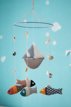 Boat and fish baby crib mobile - nursery mobile - baby mobile. $59.00, via Etsy.