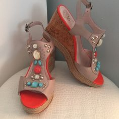 LOWEST!  Vince Camuto Tovia Castle Stone Wedges Worn twice, almost new condition.  A little scuffing (by the balls of your feet).  Stones & studs are all in perfect condition. Vince Camuto Shoes