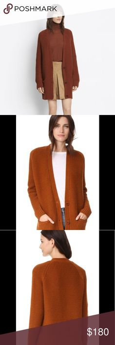 Vince Cashmere Blend Vee Knit Cardigan Oversized Oversized Vince rust colored super cute and comfy Cardigan. Fits true to size.  Shown on a size 4/6 mannequin.  In gently used good condition.  Measurements available upon request.  All orders ship same or next business day! Vince Sweaters Cardigans