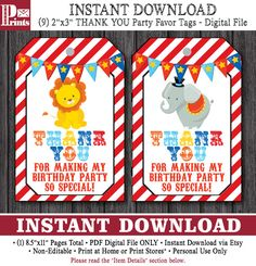 Circus Birthday Favor Tags  Carnival Thank You by PuggyPrints
