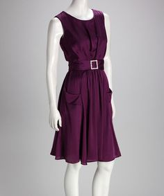 Take a look at this Purple Belted Dress by Danny & Nicole on #zulily today!