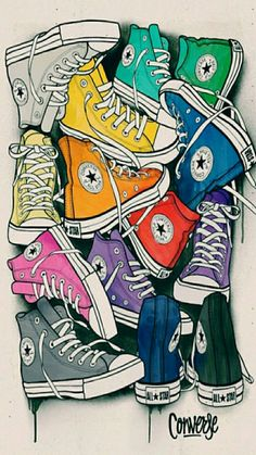 CONVERSE - Juan Morant (via Behance). Obvious influence from pop art, however wouldn't class this piece as a work of pop art - more modern art. The use of bright colours and the way the shoes are laid out make them look like they are joined making the ima Art And Illustration, Illustrations, Arte Pop, Art Plastique, Retro, All Star, Art Drawings, Street Art, Artsy