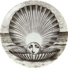 Theme & Variation Decorative Plate #274 (Face in Clamshell) - Fornasetti
