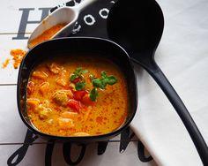 Rozgrzewająca, jesienna zupa pełna aromatów, o kolorze, który z pewnością ożywi jesienne szarości i poprawi nasz nastrój Chorizo, Tofu, Ethnic Recipes