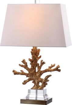 Mounted On A Clear Acrylic Stepped Platform With Dark Gold Pedestal, The  Golden Branching Coral Of The Bashi Table Lamp Ups The Glamor Of Nature.