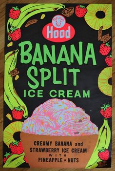 Vintage 1950s Original Neon Banana Split Hood Ice Cream Advertisment Poster