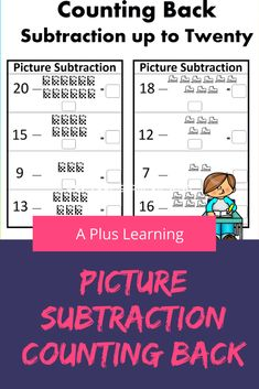 This counting back strategy for subtraction is a great way for your students to practice and solve subtraction problems.This resource include 12 subtraction worksheets. They are in black and white. School Resources, Classroom Resources, Math Resources, Math Activities, Classroom Organization, Classroom Management, School Stuff, Back To School, Teaching Posts