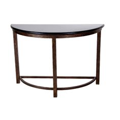 Designe Gallerie Metal Console Table with Black Marble Top