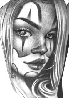 Scary Drawings, Chicano Drawings, Tattoo Drawings, Chicanas Tattoo, Clown Tattoo, Aztec Warrior Tattoo, Sugar Skull Girl Tattoo, Chicano Style Tattoo, Chicano Lettering