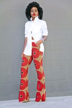 Oversized Button Down Shirt + Ankara Print Pants. Try this gorgeous retro look for your senior pictures! // Style Pantry
